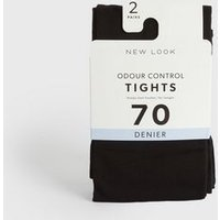 2 Pack Black Odour Control 70 Denier Tights New Look