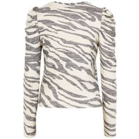 Cream Zebra Print Fine Knit Puff Sleeve Top New Look