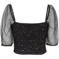 Black Ruched Mesh Diamanté Top New Look
