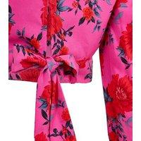 Pink Rose Satin High Neck Tie Front Top New Look