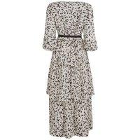 White Spot Tie Waist Tiered Midi Dress New Look