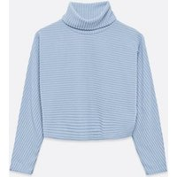 Pale Blue Ribbed Knit Roll Neck Boxy Jumper New Look