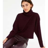 Burgundy Ribbed Knit Roll Neck Boxy Jumper New Look