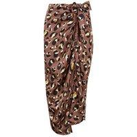 Brown Satin Leopard Print Midi Skirt New Look