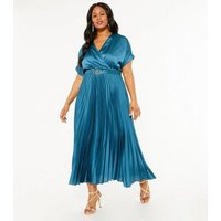 Curves Teal Satin Belted Pleated Midi Dress New Look