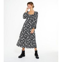 Black Floral Square Neck Midi Dress New Look