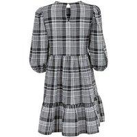 Black Crinkle Check Mini Smock Dress New Look