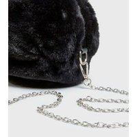 Black Faux Fur Round Cross Body Bag New Look