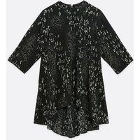 Mela Curves Dark Grey Leopard Print Tunic Top New Look
