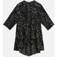 Mela Curves Dark Grey Leopard Print Tunic Top New Look