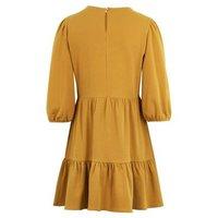 Mustard Jersey Tiered Mini Smock Dress New Look