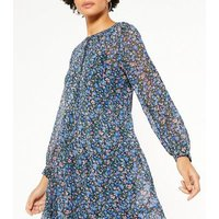 JDY Blue Floral Tiered Long Sleeve Midi Dress New Look