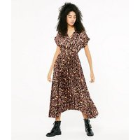 Brown Pleated Satin Leopard Belted Midi Dress New Look