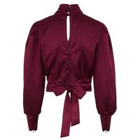 Burgundy High Neck Tie Back Satin Top New Look