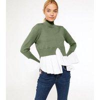 Petite Green High Neck 2 in 1 Poplin Knit Top New Look