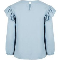 Pale Blue Frill Trim Long Sleeve Blouse New Look