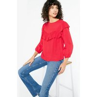 Red Frill Trim Long Sleeve Blouse New Look