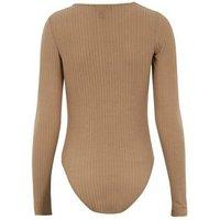 Camel Long Sleeve Ribbed Bodysuit New Look