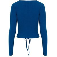 Blue Ribbed Ruched Tie Front Top New Look