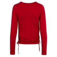 Red Ruched Tie Side Long Sleeve Top New Look