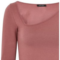 Deep Pink Asymmetric Neck Long Sleeve Top New Look