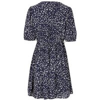 Blue Vanilla Navy Leaf Short Puff Sleeve Wrap Dress New Look