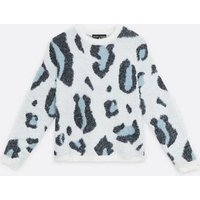 Mela Blue Leopard Print Jumper New Look