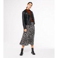 Black Animal Print Midi Skirt New Look