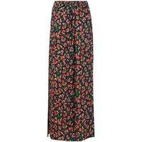 Black Floral Split Hem Maxi Skirt New Look