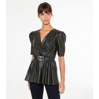 Black Leather-Look Belted Top New Look