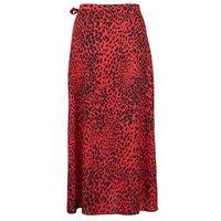 Red Leopard Print Wrap Midi Skirt New Look