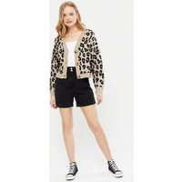 Camel Leopard Print Button Up Boxy Cardigan New Look