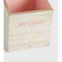 Pink Wood Life Status Bobble Storage Pot New Look