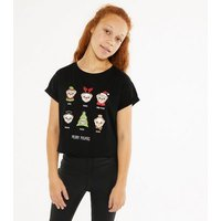 Girls Black Pug Christmas Slogan T-Shirt New Look