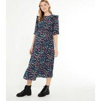 Maternity Black Floral Shirred Ruffle Midi Dress New Look