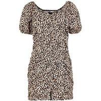 Black Leopard Print Puff Sleeve Ruched Mini Dress New Look