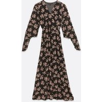 Mela Black Floral Chiffon Wrap Maxi Dress New Look