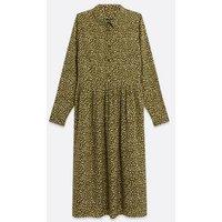 Curves Green Spot Long Sleeve Midi Shirt Dress New Look