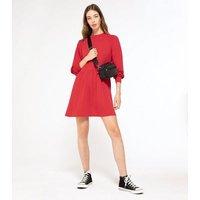 Red-Puff-Sleeve-Sweatshirt-Smock-Dress-New-Look