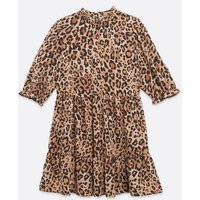 Brown Leopard Print High Neck Smock Dress New Look