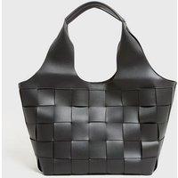 Black Woven Leather-Look Shopper Bag New Look Vegan