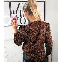 AX Paris Orange Animal Print Ruffle Puff Sleeve Top New Look