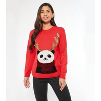 Red Sequin Reindeer Panda Christmas Jumper New Look