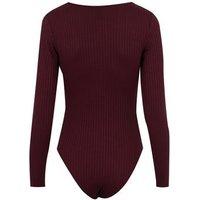 Plum Exposed Seam Ribbed Bodysuit New Look