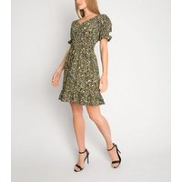 Gini London Black Floral Puff Sleeve Dress New Look