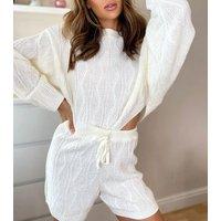 Urban Bliss Cream Zig Zag Knit Jumper and Shorts Set New Look