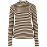 Brown Stripe Long Sleeve High Neck Top New Look