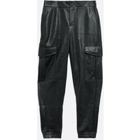 Noisy May Black Leather-Look Cargo Trousers New Look