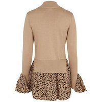 Brown Fine Knit 2 in 1 Leopard Print Top New Look