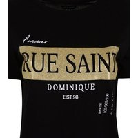Black Rue Saint Glitter Box Slogan T-Shirt New Look